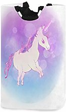 Purple Unicorn Art Laundry Hamper Basket Large