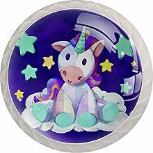 Purple Unicorn Cabinet Knobs 4 Pack 4 Pack Round