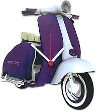 Purple Vespa Scooter Clock - MS18