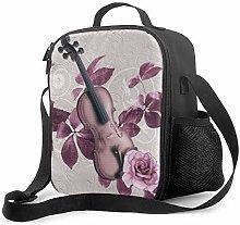 Purple Violin Upgrade Lunch Tote Box, Music Violin