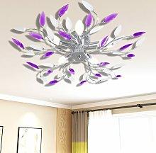 Purple&White Ceiling Lamp Acrylic Crystal Leaf
