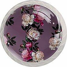 Purple White Pink Flower 4pcs Glass Cupboard