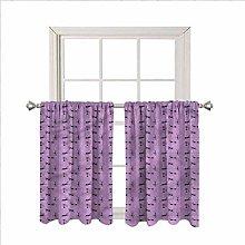 Purple Window Valance Curtains,Valentine Animal
