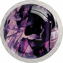 Purple8 4pcs Glass Cupboard Wardrobe Cabinet