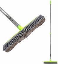 Push Broom Long Handle Rubber Bristles Sweeper