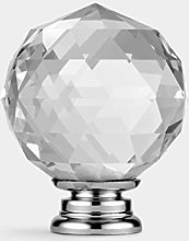 Pushka Home Large Clear Round Faceted Crystal with