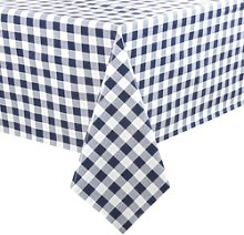 Pvc Chequered Tablecloth Blue 54 X 90in - [e791]