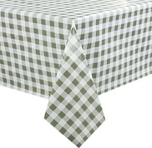 Pvc Chequered Tablecloth Green 54in - [e653]