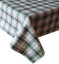 PVC Tablecloth Burlap Check Green 2 Metres (200cm