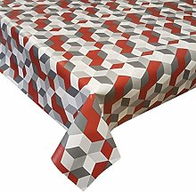 PVC Tablecloth Cubes Red 3 Metres (300cm x 140cm),