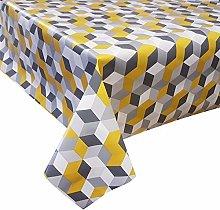 PVC Tablecloth Cubes Yellow 2.5 Metres (250cm x