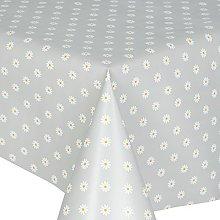 PVC Tablecloth Daisy Silver 1.5 Metres (150cm x