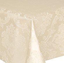 PVC Tablecloth Damask Ivory 2.5 Metres Oval (250cm