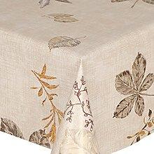 PVC Tablecloth Gold Leaves 2 Metres (200cm x