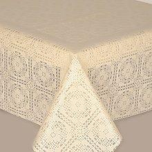 PVC Tablecloth Lace Crochet Cream 3 Metres (300cm