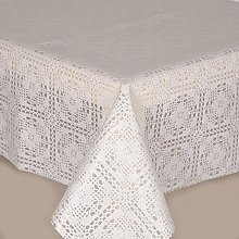 PVC Tablecloth Lace Crochet White 2 Metres (200cm