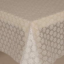 PVC Tablecloth Lace Daisy White 2 Metres Oval
