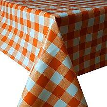 PVC Tablecloth Orange Check 4 Metres (400cm x