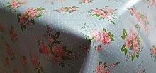 PVC Tablecloth Patchwork Rose Blue 2 Metres (200cm