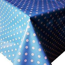PVC Tablecloth Polka Blue 3 Metres (300cm x
