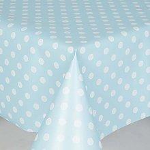 PVC Tablecloth Polka Duck Egg 3 Metres Oval (300cm