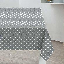 PVC Tablecloth Polka Light Grey 3 Metres (300cm x