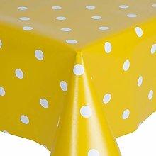 PVC Tablecloth Polka Mustard 2.5 Metres (250cm x