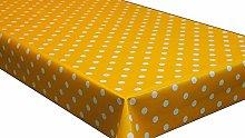 PVC Tablecloth Polka Mustard 2 Metres (200cm x