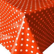 PVC Tablecloth Polka Red 3 Metres (300cm x 140cm),