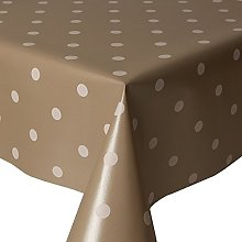 PVC Tablecloth Polka Silver Taupe 2 Metres Oval