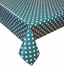PVC Tablecloth Polka Teal 2.5 Metres (250cm x