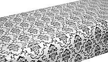 PVC Tablecloth Regency White Black 2.5 Metres