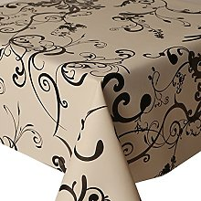 PVC Tablecloth Roma Black 2.5 Metres Oval (250cm x