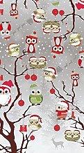 PVC Tablecloth Xmas Owls 4 Metres (400cm x 140cm),