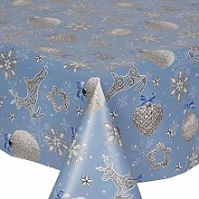 PVC Tablecloth Xmas Sparkle Blue 2 Metres (200cm x