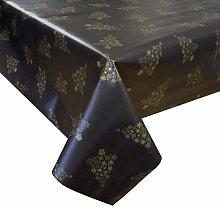 PVC Tablecloth Xmas Trees Black Gold 3 Metres