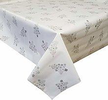 PVC Tablecloth Xmas Trees White Silver 4 Metres