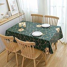 PVC Tablecloths Rectangular Large, Dark Green Gold