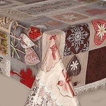 PVC Vinyl Table Cloth Christmas Red White