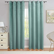 PY Home & Sports Teal Velvet Curtains 84 Inch Long