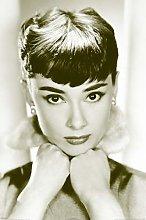 Pyramid America Audrey Hepburn Sepia Face Portrait