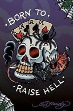 Pyramid America Ed Hardy Born To Raise Hell Tattoo