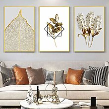 PYROJEWEL Nordic Abstract Golden Leaf Flower Wall