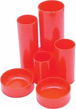 Q Connect 6 Tube Plastic Desk Tidy Red - Qconnect