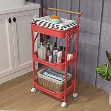 Q-HL Storage Trolley Foldable Rolling Cart Kitchen