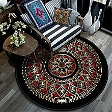 QALLP Circular Area Rug Style Washable Red Arc