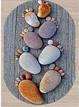 QAQV Gray Wood Brown Foot Pebble Stones 3D
