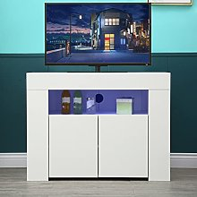 QAQZ Corner TV Unit Stand - White Gloss TV Cabinet