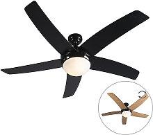 Qazqa - Ceiling fan black with remote control -