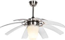 Qazqa - Ceiling fan silver with remote control -
